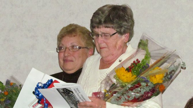 Vickie Jewett and Judy Strazzere were honored for 61 years combined service to the J-E Marching Eagles.