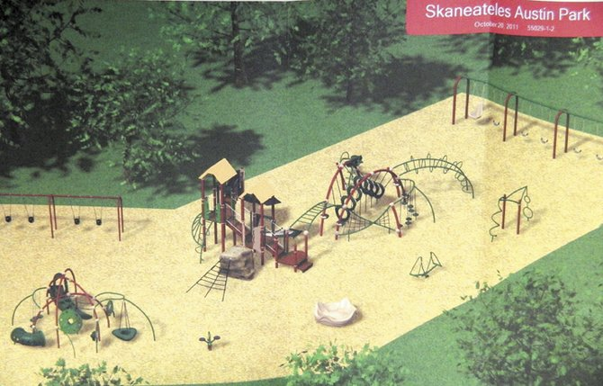 A conceptualized vision of the new Austin Park playground as created by Parkitects, Inc., the company working with the Parks and Recreation Council of Skaneateles to revamp the playground. Representatives from both groups gave a presentation to the Skaneateles Town Board last week about the project.