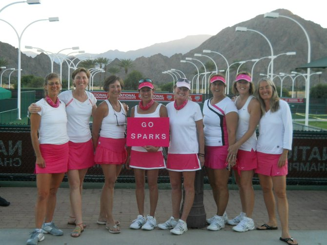 Sparks Team Captain Bodhi Borer, left, Ann Zinsmeister, Maureen Hayes-Mitchell, Cindy Underriner, Mary Cawley-Oliver, Ruth Sikora, Sheila Coughlin and Coach Gyata Storman pose for a victory photo after placing sixth in the nation at the 2011 USTA Women's 3.0 Senior Nationals Tennis Championship, held on Oct. 30 in Indian Wells, Calif.