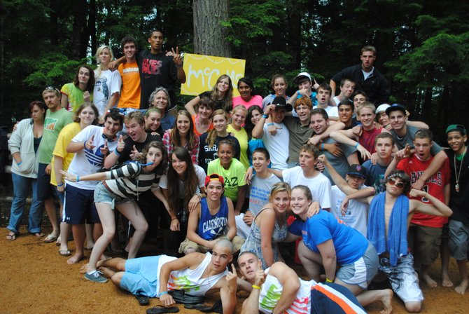 "Cazenovia High School students take a break from activities at the summer camp they attended with Cazenovia Young Life earlier this year, to pose for a group photo. Cazenovia Young Life will hold their first ""Friday Night Life"" from 9 p.m. to midnight Dec. 2 in the Wendell House, on the left side of the Presbyterian Church."