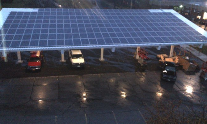 The new parking structure with solar panels outside the  F. Donald Mye.rs Education Center in Saratoga Springs