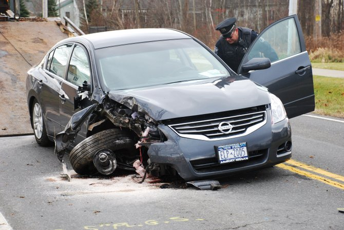 A Delmar man crashed his vehicle into a utility pole on Elsmere Avenue Monday, Nov. 28. Police charged Stephen Rosenblatt, 43, with DWI. (Photo courtesy of Tom Heffernan Sr.)