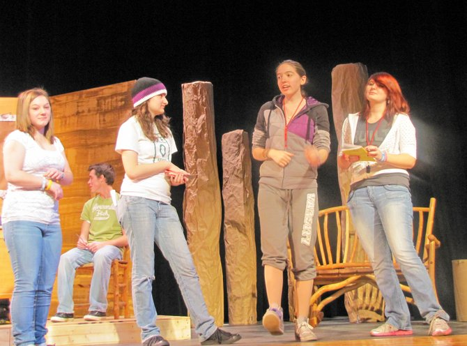 "Schroon Lake Central School's senior class will present ""Krazy Kamp"" Friday, Dec. 2, and Saturday, Dec. 3, at 7 p.m. in the school auditorium. Tickets are $5. Rehearsing a scene are, from left, Rebecca Pecor, Brandi Busick, Tiffany Messing and Samantha Thatcher."