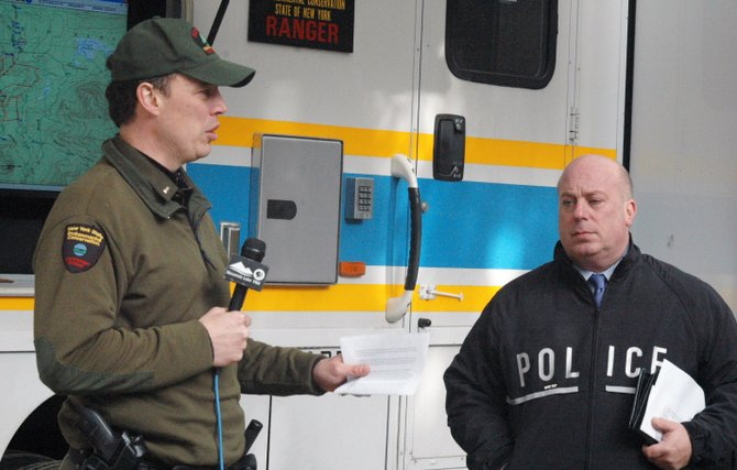 DEC Forest Ranger Lt. Brain Dubay and NYSP Lt. Scott Heggelke address the media Nov. 30, about an hour before the discovery of Russ Beede.