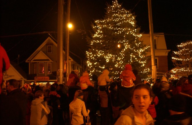 The rain held off for the Fifth Annual Bethlehem Holiday Parade. Pictured is the tree that was lit at the Four Corners Intersection following the parade.