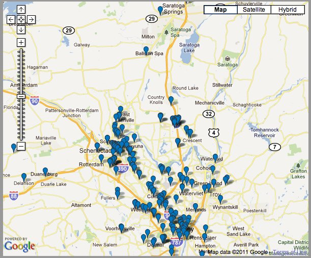 "The ""Giving Map"" shows many donation and volunteer locations throughout the Capital District."