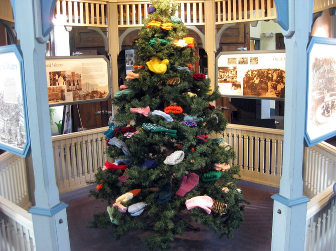 The &quot;Happy Hands&quot; mitten tree at the Saratoga Springs Heritage Area Visitors Center.
