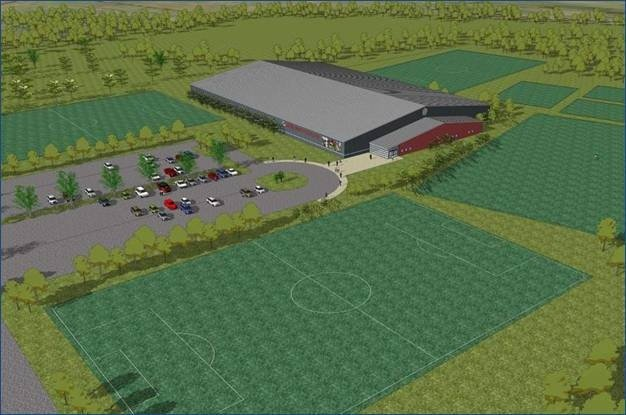 The Bethlehem Soccer Club is modifying plans for an indoor sports facility at its location on Wemple Road. Initial plans (pictured) called for an 87,500 square foot building. The new building will likely be half that size. (submitted photo)