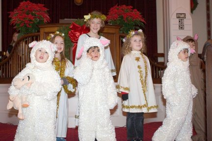 Young Cazenovian actors portray angels and sheep during last year's Christmas pageant. This year's performance will be held at 10 a.m. Dec. 18 in the church after the lighting of the fourth candle on the Advent wreath.