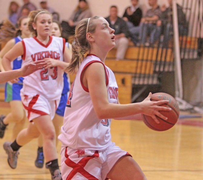 Hayley Waldron scored seven points for the Moriah, but the Vikings lost to AuSable Valley 56-15, in Champlain Valley Athletic Conference girls basketball play Dec. 14.