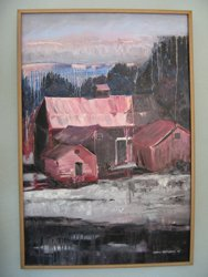 Vanishing Barns Red is a painting featured in Carole Warburtons exhibit displayed at the Schenectady Jewish Community Center. 