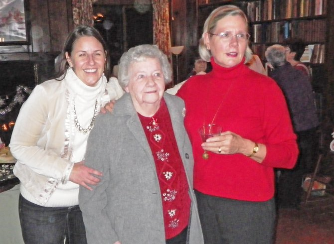 Long-standing Fort Ticonderoga employee Belva Blood, center, was recently recognized at the Fort Ticonderoga staff Christmas party for her years of service. Joining Blood are Beth Hill, right, Fort Ti executive director, and Bonnie Davis, Fort Ticonderoga's 2011 Volunteer of the Year.