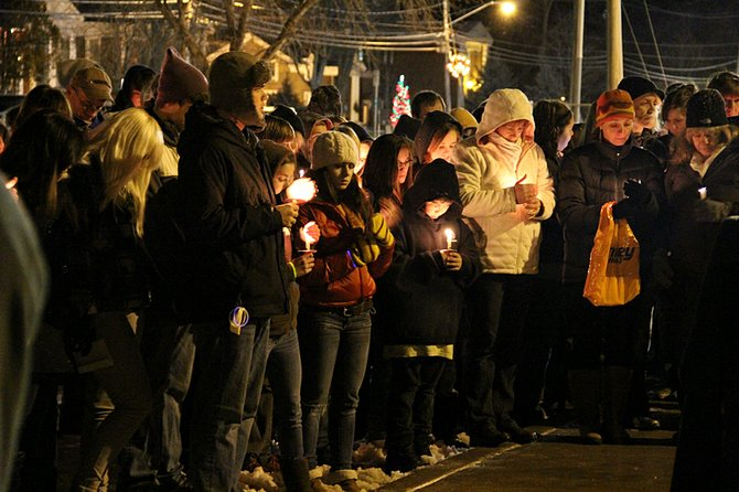 Friends of 16-year-old Ashley Grady, who died Dec. 21, gathered at the Elizabethtown-Lewis Central School the evening of Friday, Dec. 23 for a candlelight vigil.