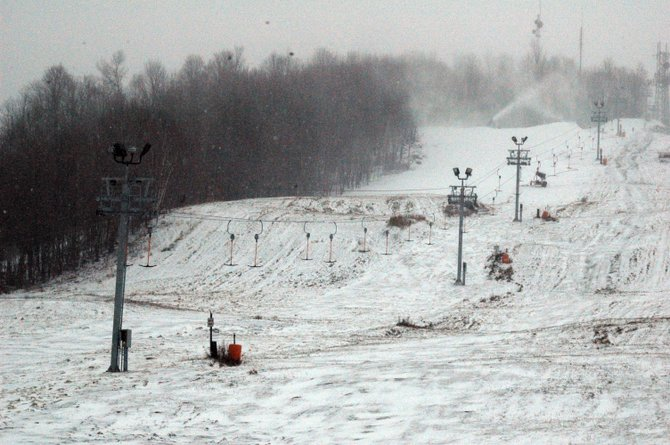 Snow guns coat the slope at Mount Pisgah as skiers anxiously await the chance to use the new T-Bar lift (pictured).