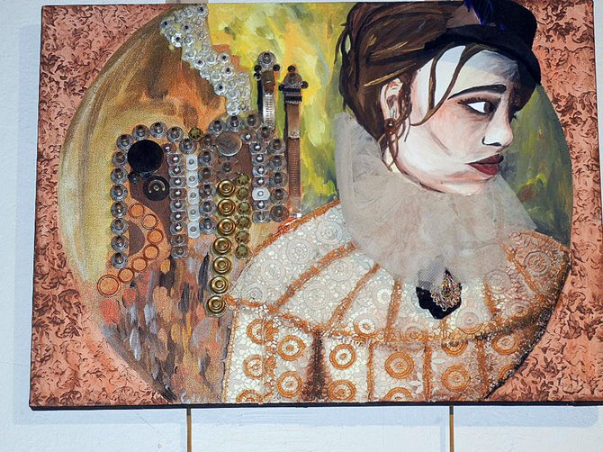 Mixed-media steampunk painting by SHS student Tori Blake.