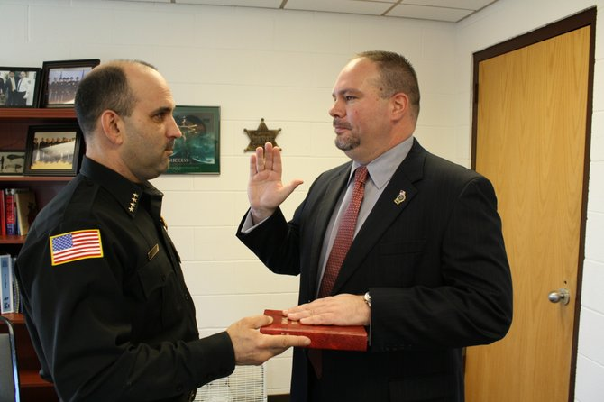 Dave Dean is sworn in as the new chief humane officer by Schenectady County Sheriff Dominic Dagostino on Tuesday, Jan3.