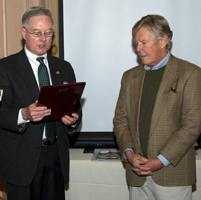 At a recent Rotary Club meeting, Rotary Club President Chuck O'Neil presented Sherwood Inn owner Bill Eberhardt with the club's coveted Presidents Award for his years of support to the organization and the community.