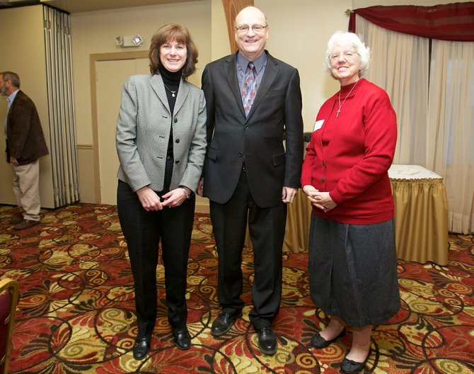 From left: Guilderland Central School District Superintendent Marie Wiles, Guilderland Supervisor Ken Runion and Guilderland Public Library Director Barbara Nichols Randall all spoke at the Guildelrand State-of-The-Town address, sponsored by the Guilderland Chamber of Commerce.
