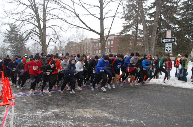 Participants of the 2011 Chilly Chili 5K Run/Walk take off at the starting line. This year's 3.1 mile event will begin at 1 p.m. Jan. 29 on Emory Avenue, in front of Cazenovia Middle School.  Pre-registration is available online at chillychili.com.