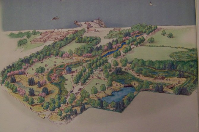 West Brook environmental park, seen here in a sketch plan, is now to be named after the late Charles R. Wood, local legend, philanthropist and theme park pioneer.  County officials announced that his Foundation has pledged $750,000 towards the completion of the park, at the south end of Lake George.