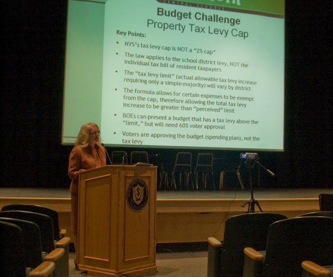 Schalmont Superintendent Valerie Kelsey talks about developing the 2012-13 budget during the district's first budget forum on Tuesday, Jan. 17. The first draft of next school year's budget will be presented at the upcoming Board of Education meeting on Monday, Jan. 23.