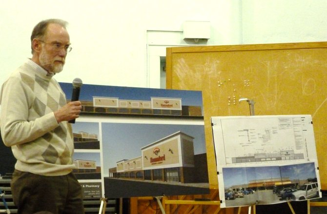 Doug Boyce, a representative of Hannaford's real estate department, speaks with the town's planning board about the local store's renovation.