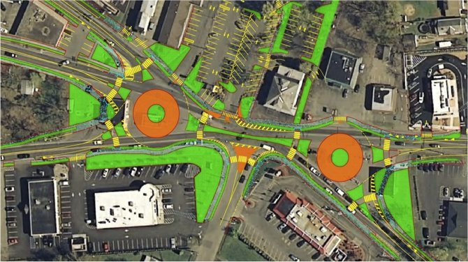 Dual roundabouts are proposed as a way to improve traffic flow at Five Corners in Rotterdam. As seen here, the roundabouts would fall on top of existing gas stations, and the town would have to purchase the property.