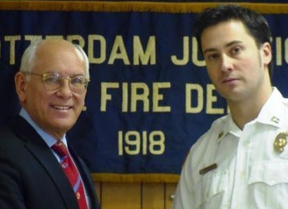 Congressman Paul Tonko, left, is joined by Rotterdam Junction Fire Chief Shawn Taylor, right.