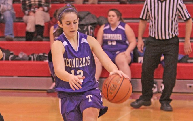 Andrea Rich topped Ticonderoga with 10 points, but the Sentinels lost to Peru, 54-22, in Champlain Valley Athletic Conference girls basketball action Jan. 23.