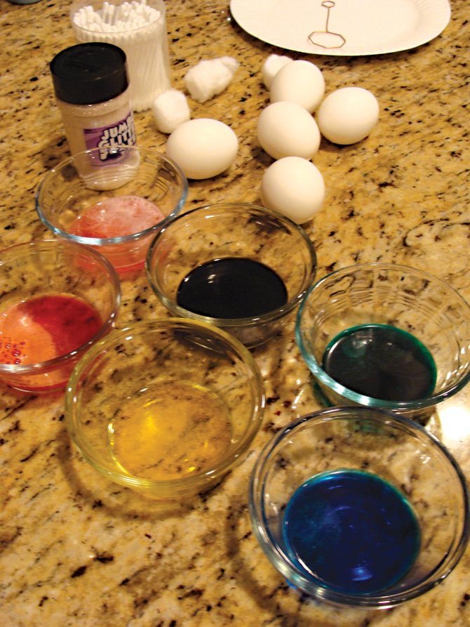 The best way to start any egg-decorating project is to first organize the supplies.