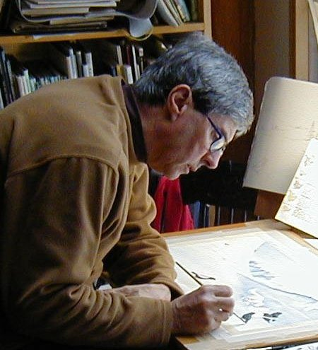 Author/illustrator Bruce Hiscock at work.