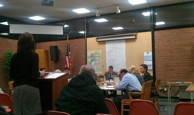 Marcia Novek, of Manlius, speaks to the Manlius Town Board regarding their decision to ban public comment.