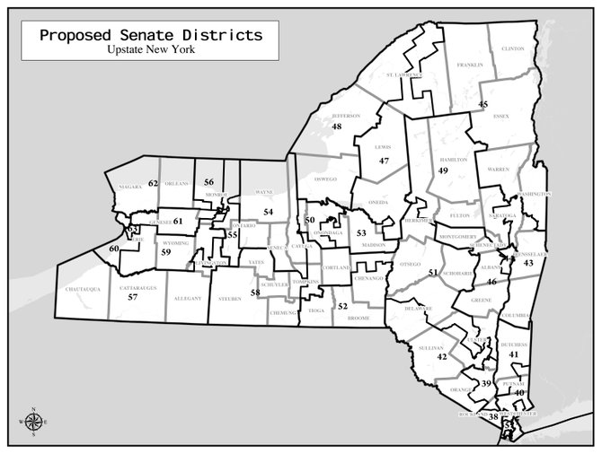 The Legislative Task Force on Demographic Research and Reappointment has suggested adding another district to the Senate, and dramatically redrawing Senate lines in the Capital District.