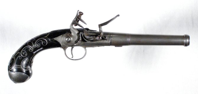 "English turn-off barrel pistol by London Gun Maker John Easterby, 1724-1731. From the Grafton H. and Barbara W. Cook Collection, Fort Ticonderoga Museum. Chris Fox, curator of collections at Fort Ticonderoga, will talk about this and other weapons in the fort's collection at the ""Fort Fever Series"" program at the fort on Sunday, Feb. 12, at 2 p.m."