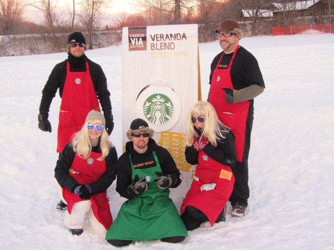 The Vestal Blondes, one of five teams sponsored by Starbucks, won the races by going down the hill in 8.9 seconds. Back from left are Aaron Reeser and Kevin Hayes. Front from left is Debby Bell, Ryan Titchen and Lydia Moreno.