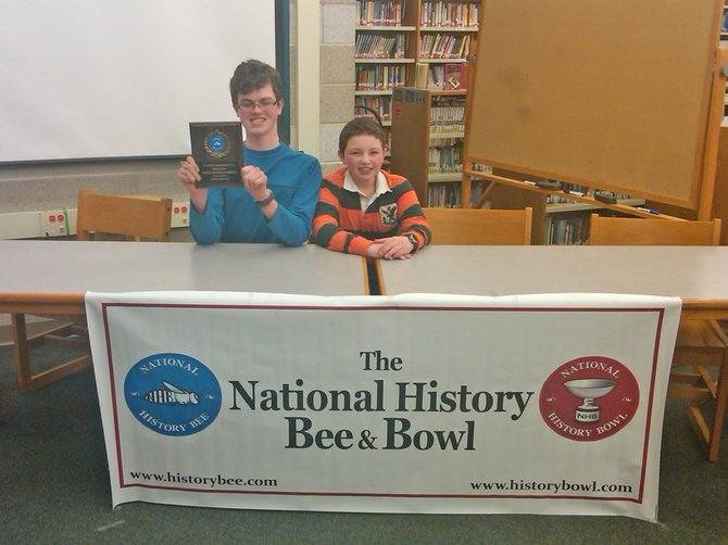 Bethlehem Middle School student Eric Wolfsberg won the Regional History Bee for Upstate New York. Student Justin Cohen (right) placed third.
