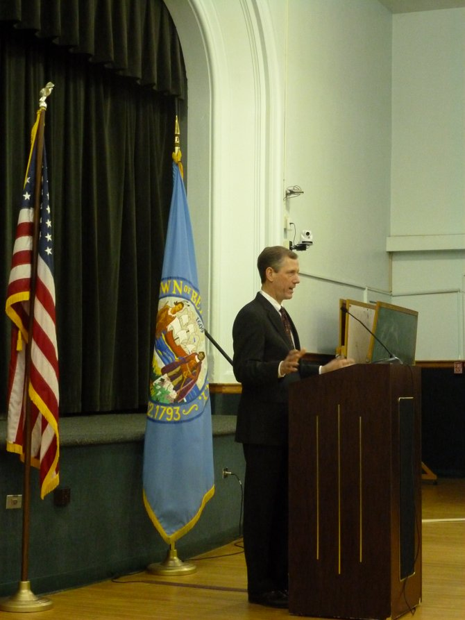 Bethlehem Supervisor John Clarkson gives his first State of the Town at Town Hall on Monday, Jan. 30.