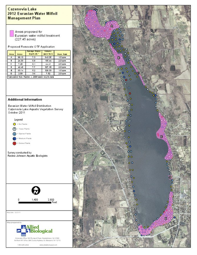 An aerial view of Cazenovia Lake, and the five areas Cazenovia Town Councilors be treated with Renovate in order to combat invasive species. To see a color map and the adjoining key, visit townofcazenovia.org/content/Generic/View/28:field=documents;/content/Documents/File/558.pdf