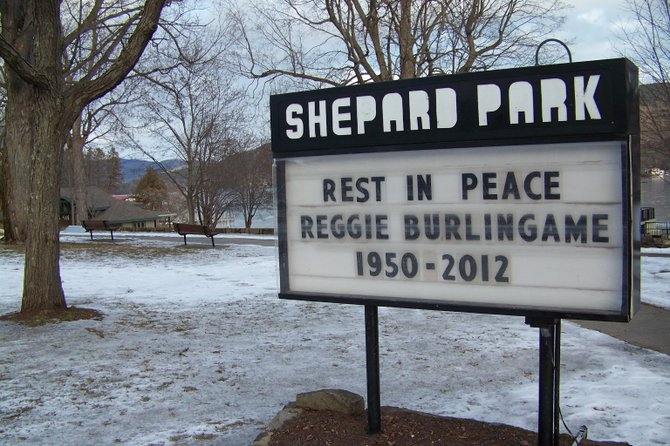 A tribute to Reggie Burlingame — until recently Lake George Village's sewage treatment plant operator — was posted in Shepard Park shortly after his death Saturday Jan. 28.