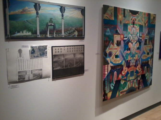 """Mural designs by Corky Goss, left, will be on display at the Reisman Hall Art Gallery at Cazenovia College until Feb. 17. At right is an example of Goss' more personal work in the field of """"spiritual anatomy."""""""
