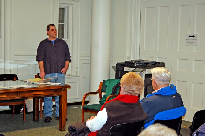 Mark Gillis makes a speech during the Jan. 31 Saranac Lake Republican Party caucus in the village offices at the Harrietstown Town Hall. He and incumbent Jeff Branch won nods to run for two open trustee seats in the March 20 election.