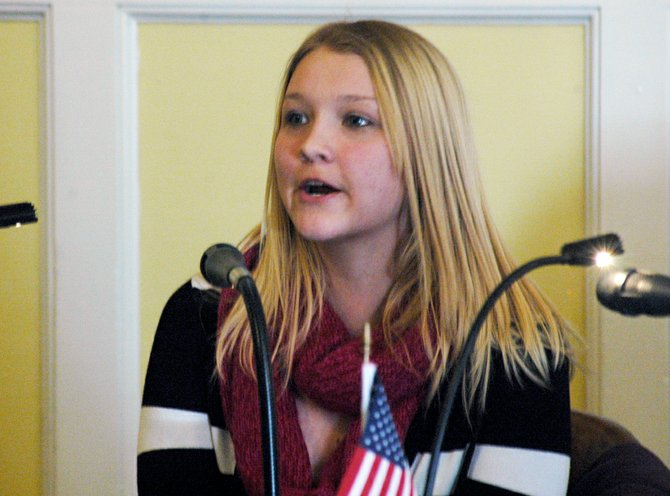 Elizabethtown-Lewis junior Sarah Sandberg addresses members of the Bringing Essex County Stregths Together (BEST) Committee about her experience with K-2, a synthetic marijuana, during its Feb. 1 meeting.