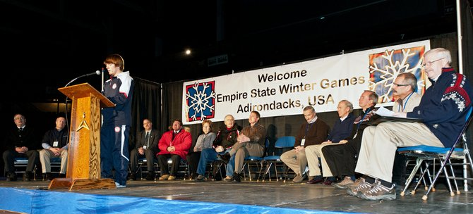 Codie Bascue addresses the athletes at the opening ceremonies of the Empire State Winter Olympic Games in Lake Placid Feb. 2. Bascue, who is from Whitehall, was a member of the US Olympic team in bobsleigh.