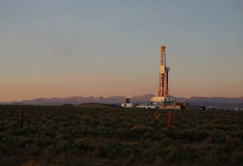 A drill rig near the town of Pinedale, Wyo. With approximately 3570 acres under lease with gas companies in the Town of Cazenovia, this could become a familiar sight for area residents.