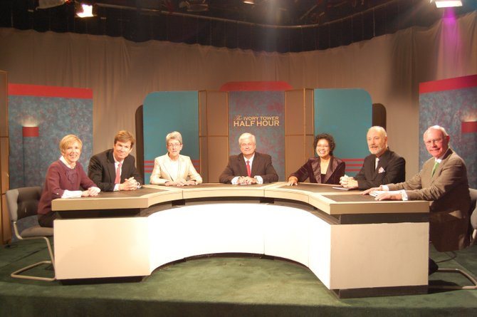 """The seven panelists of WCNY's """"The Ivory Tower Half Hour"""" celebrated the airing of their 400th episode on Feb. 3."""