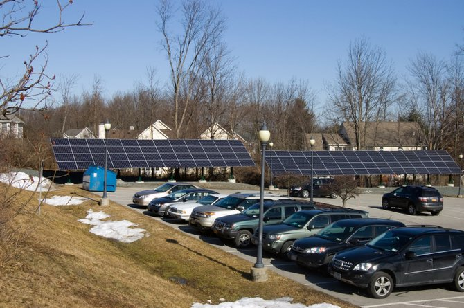 Solar panels outside of Niskayuna Town Hall on Friday, Feb. 3, are providing electricity to the building. Additional panels are also planned for the town's Wastewater Treatment Plant and Highway Garage.