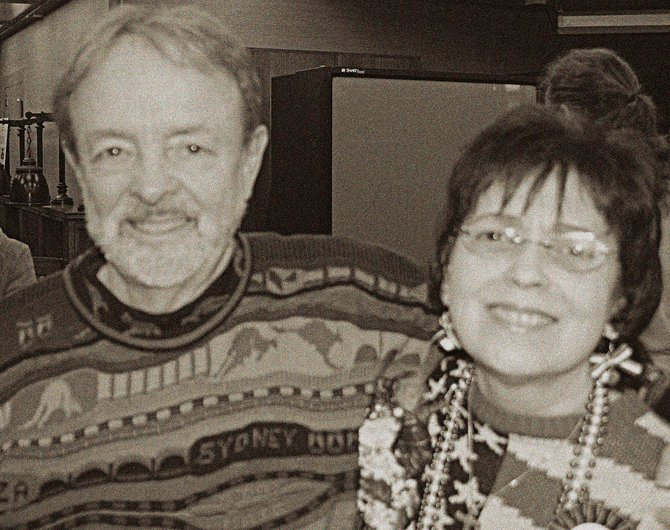 Robert Vines and Anne Simons celebrate Annes retirement in December 2006. This year is the couples 18th anniversary on Valentines Day.