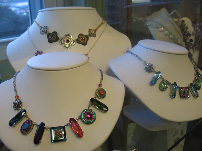 A variety of heart shaped necklaces can add sparkle to the holiday.