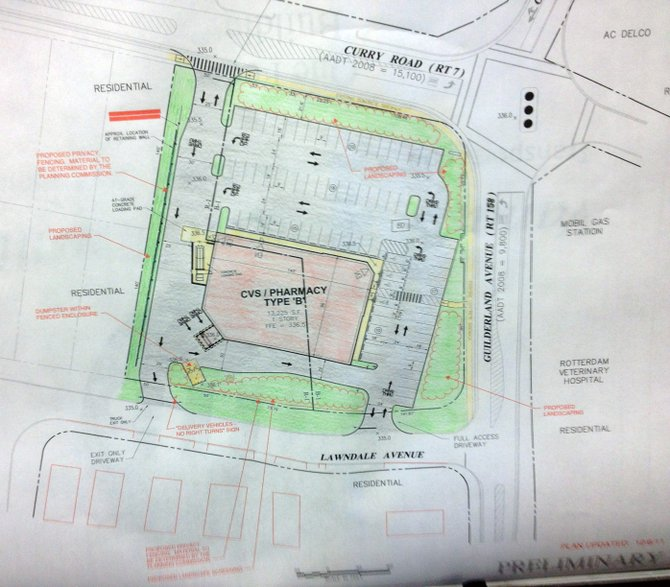 A preliminary site plan for the proposed CVS Pharmacy at the corner of Lawndale Avenue and Curry Road is displayed during the Rotterdam Town Board Meeting on Wednesday, Feb. 8. The conceptual plan included several changes from the previous proposal.