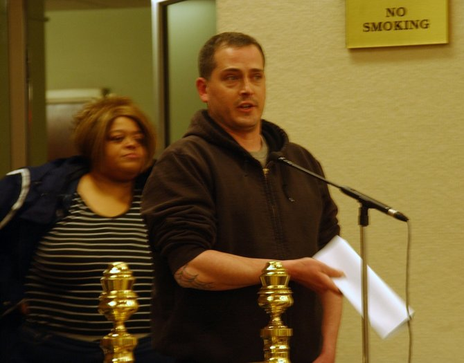 Schenectady resident David Prusky, a union worker and Marine veteran, expressed his support for the proposed Project Labor Agreement at the Tuesday, Feb. 14, meeting.